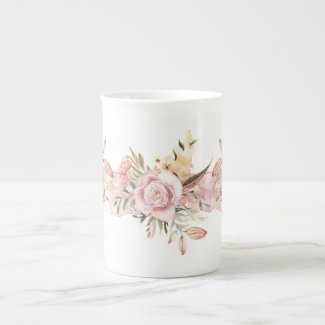 Mauve Gouache Roses and Garden Flowers China Mug
