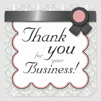"""Mauve & Gray Damask """"Thank you for your Business"""" Square Sticker"""