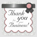"""Mauve & Gray Damask """"Thank you for your Business"""" Square Stickers"""