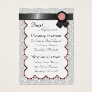 Mauve & Gray Damask Wedding Guest Reference Cards