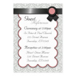 Mauve & Gray Damask Wedding Guest Reference Cards Business Card Templates