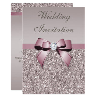 Mauve Gray Sequins Diamonds Bow Wedding Card