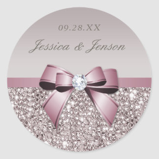 Mauve Gray Sequins Diamonds Bow Wedding Classic Round Sticker