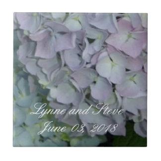Mauve Hydrangea Wedding Date Ceramic Tile