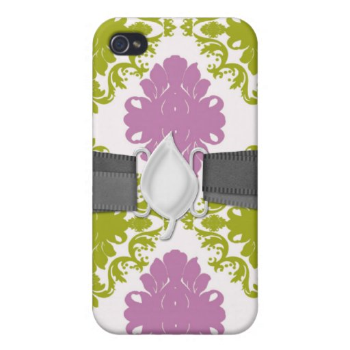 mauve lavender lime green white diamond damask covers for iPhone 4