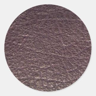 Mauve leather texture classic round sticker