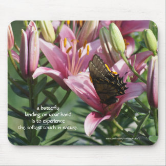 Mauve Lily 8429 with Butterfly- customize Mouse Pad