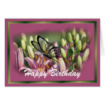 Mauve Lily with black lace butterrfly- customize Greeting Card