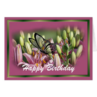 Mauve Lily with black lace butterrfly- customize Card