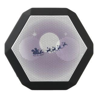 Mauve Moon Flying Reindeer Santa Claus Black Bluetooth Speaker