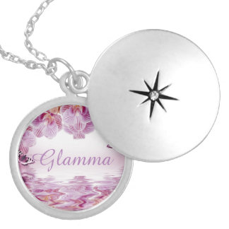 Mauve Orchids Butterflies, Glamma Locket Necklace