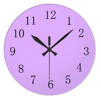 Mauve Pale Purple Solid Color Large Clock