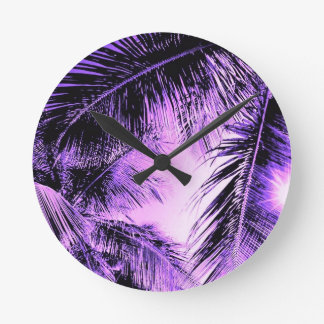MAUVE PALM TREES NATURE BEAUTY SCENERY DIGITAL ROUND WALL CLOCK