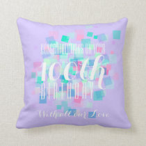 Mauve Pastel Colors 100th Birthday Custom Pillow