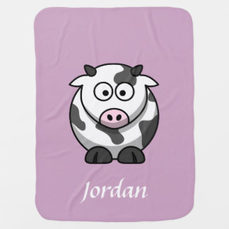 Mauve Personalized Cow Blanket Stroller Blankets