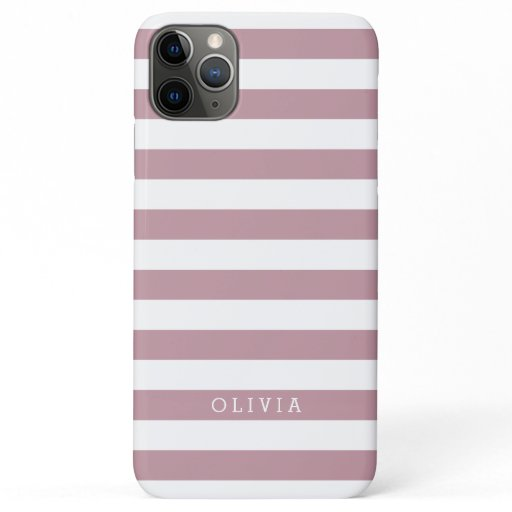 Mauve Pink and White Stripes Monogrammed iPhone 11 Pro Max Case