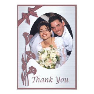 Mauve Pink Calla lilies Thank you card with photo