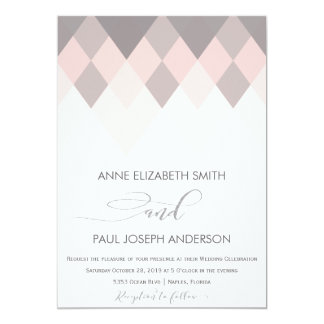 Mauve & pink geometric Wedding Invitation