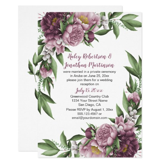 Mauve Pink Peonies Greenery Reception Only Invitation