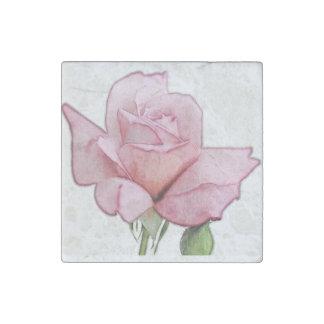 Mauve pink rose art on marble magnet
