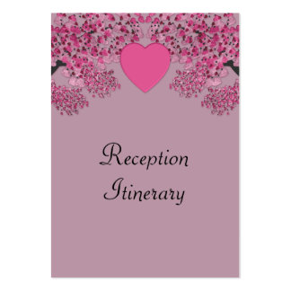 Mauve Pink Velvet Embossed Heart Trees Wedding Large Business Cards (Pack Of 100)