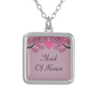 Mauve Pink Velvet Embossed Heart Trees Wedding Silver Plated Necklace