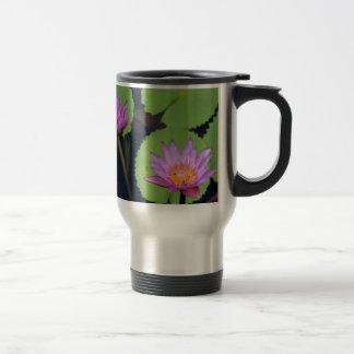 Mauve pink water lilies travel mug