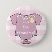 Mauve Plaid I'm The Grandma Baby Shower Pinback Button