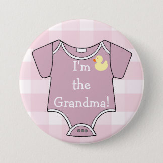 Mauve Plaid I'm The Grandma Baby Shower Pinback Button