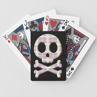 Mauve Plaid Skull Bicycle Playing Cards