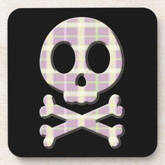 Mauve Plaid Skull Drink Coaster
