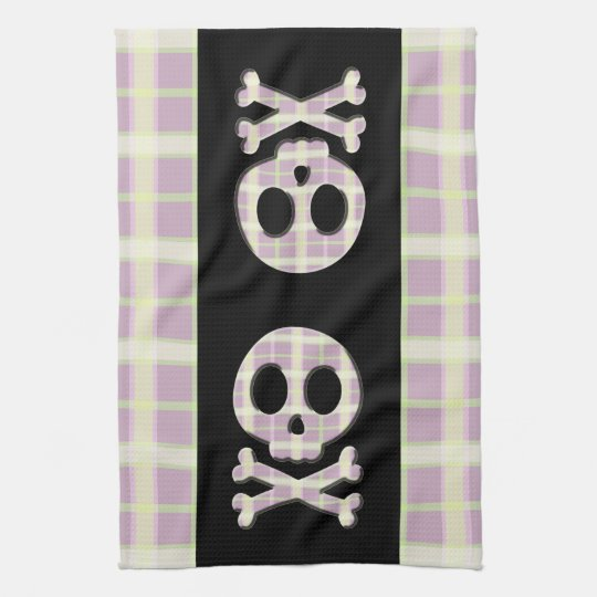 Mauve Plaid Skull Kitchen Towel