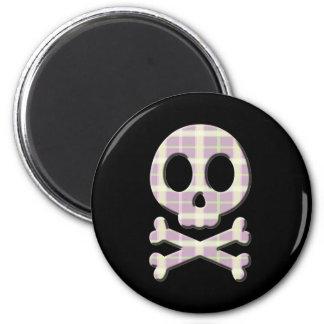 Mauve Plaid Skull Fridge Magnets