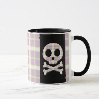 Mauve Plaid Skull Mug