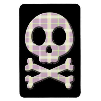 Mauve Plaid Skull Magnet