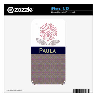 Mauve Purple Flower Personalized Custom Name Skins For iPhone 4