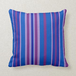 Mauve, Purple, Navy, Blue Deckchair Stripes Throw Pillow