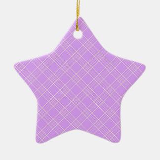 Mauve Purple Plaid Pattern Christmas Tree Ornament