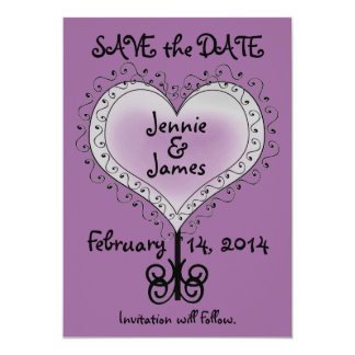 Mauve Purple Wedding Save the Date Card