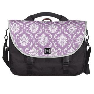 Mauve Purple White Vintage Damask Pattern Laptop Bag