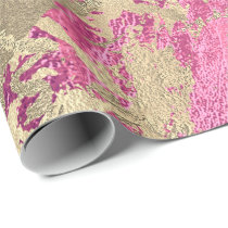 Mauve Rose Champaigne Gold Marble  Metallic Stroke Wrapping Paper