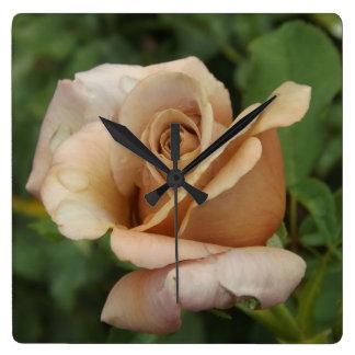 Mauve Rose Square Wall Clock