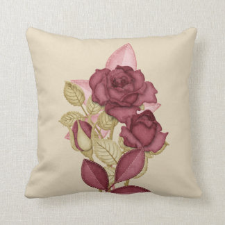 Mauve Roses on beige buds leaves flowers Throw Pillow