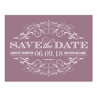 Mauve Save the Date | Swirl and Flourish Postcard