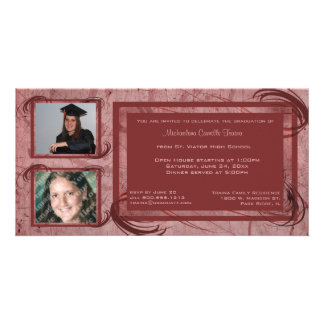 Mauve Scrolls Graduation Photo Invitation Customized Photo Card