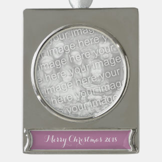Mauve Solid Color Silver Plated Banner Ornament
