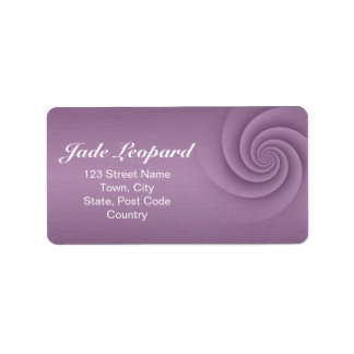 Mauve Spiral in brushed metal texture Personalized Address Labels
