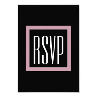 Mauve Square Frame RSVP Wedding V60 3.5x5 Paper Invitation Card