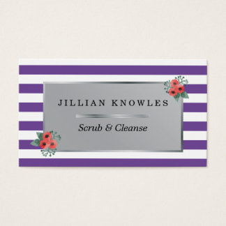 Mauve Stripes Any Color Floral Scrub Cleanse Business Card