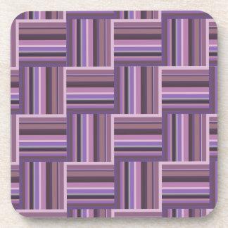 Mauve stripes weave pattern beverage coaster
